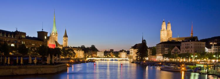 Skyline and Limmat at night, Zurich, Switzerland